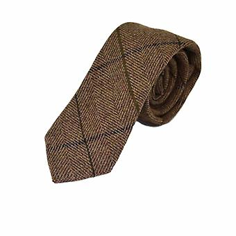 Luxury Peanut Brown Herringbone Check Tie, Tweed