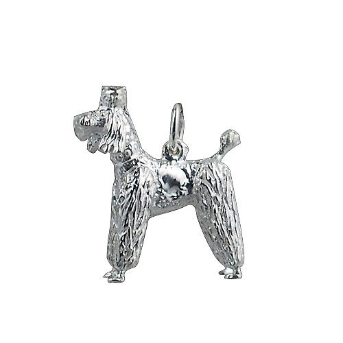 Silver 23x19mm poodle Charm or Pendant