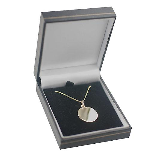 18ct Gold 20mm round plain Disc with a light curb Chain 16 inches Only Suitable for Children
