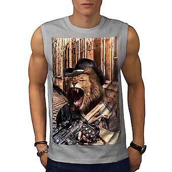 Lion Gun Criminal Animal Men GreySleeveless T-shirt | Wellcoda