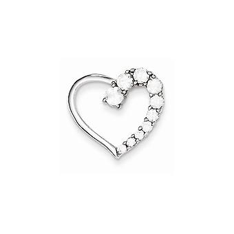 925 Sterling Silver White Synthetic Cubic Zirconia Journey Heart Charm Pendant