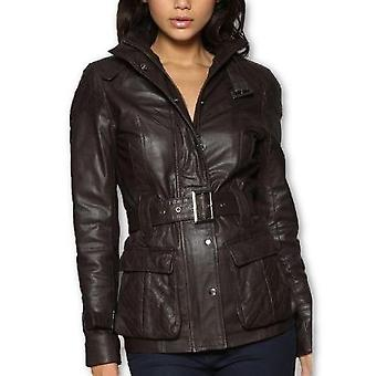 Ladies Safari Brown Lambskin Leather Coat