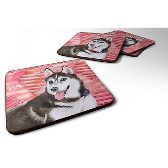Set of 4 Siberian Husky #2 Love Foam Coasters Set of 4