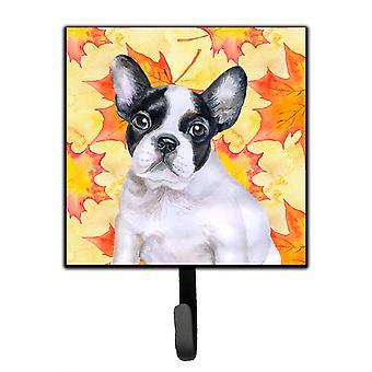Französische Bulldogge schwarz weiß Herbst Leine oder Schlüsselhalter