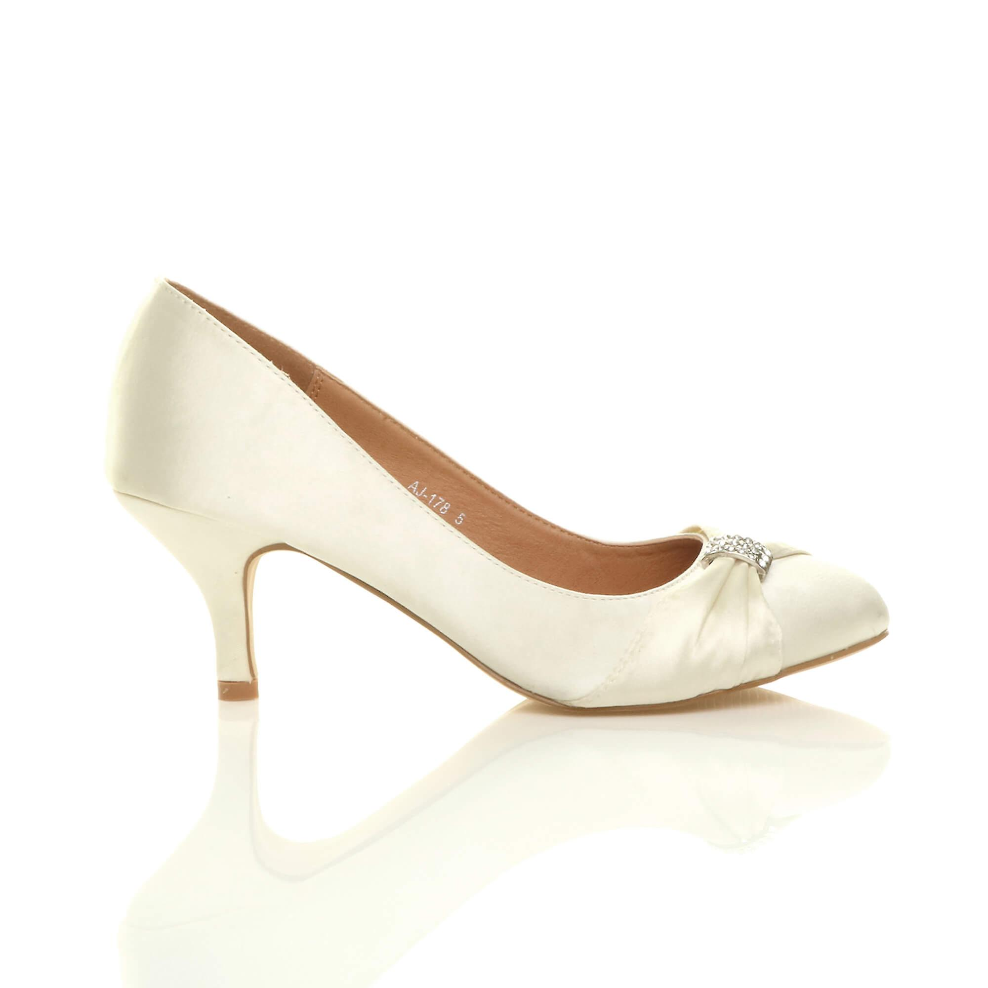 smart mid Ajvani shoes diamante wedding heel evening court prom womens ruched 88Cq5