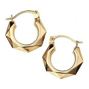 Elements Gold Diamond Cut Hoop Earrings - Gold