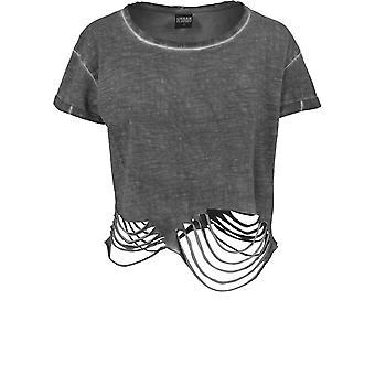Urban classics ladies - cutted cropped top dark grey