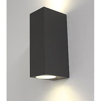 Wall lamp for indoor + outdoor, GU10, UpDown square dark grey, 10428