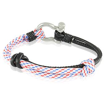 Skipper bracelet surfer band node maritimes bracelet white nylon/leather black/colorful 7236
