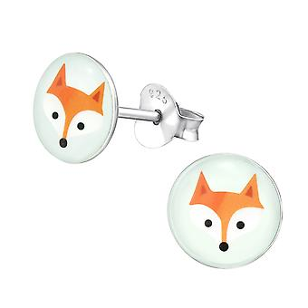 Fox - 925 Sterling Silver Colourful Ear Studs