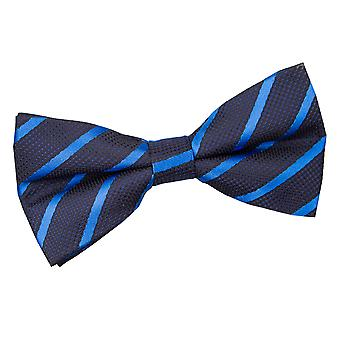 Navy & Mid Blue Single Stripe Pre-Tied Bow Tie
