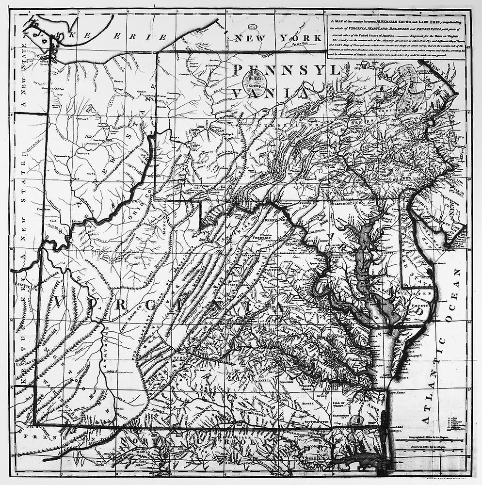 Virginia Map C1784 Nengraved Map Of Virginia From Thomas JeffersonS Notes On The State Of Virginia C1784 Poster Print by Granger Collection