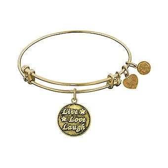 Smooth Finish Brass Live, Love, Laugh Angelica Bangle Bracelet, 7.25