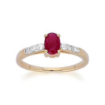 Gemondo 9ct Yellow Gold Ruby & Diamond Oval Cut Solitaire Ring