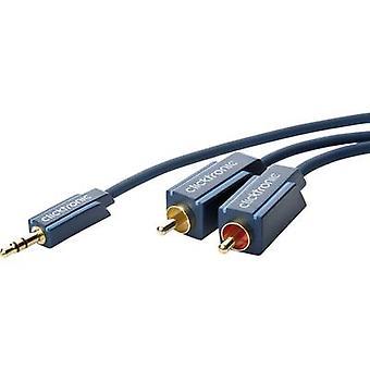 Clicktronic Jack / RCA Cable de Audio/fono [1 x conector Jack 3,5 mm - 2 x RCA enchufe (fono)] 7,50 m azul conectores chapado en oro