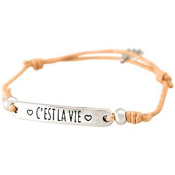 Gemshine - Damen - Armband - Gravur - C´EST LA VIE - Silber - Hellkoralle - Rose