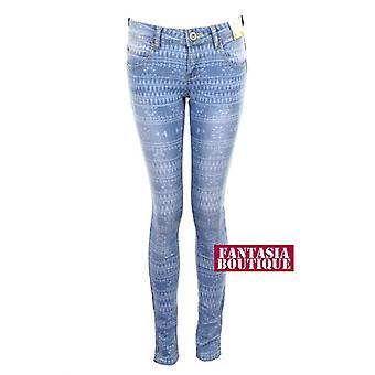 New Ladies Slim Fit Skinny Crinkle Effect Aztec Print Denim Women's Jeans