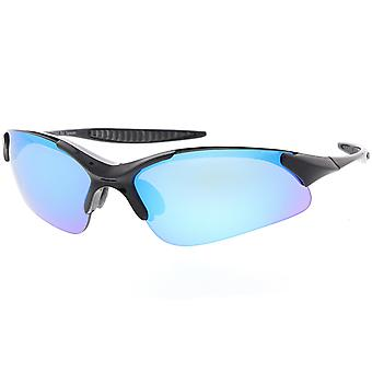 Wrap TR-90 sport solglasögon böjda färgade spegel lins 72mm