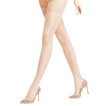Falke Seidenglatt 15 Den Stay Up Transparent Stockings - Crystal Beige