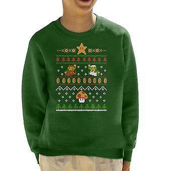 Super Mario Christmas Knit Pattern Kid's Sweatshirt