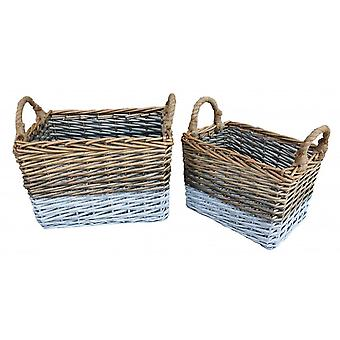 Set of 2 Rectangular Triple Tone Chunky Wicker Storage Basket