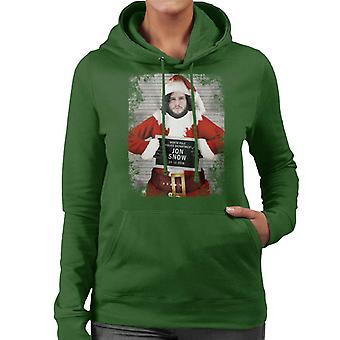 Christmas Mugshot Jon Snow Women's Hooded Sweatshirt