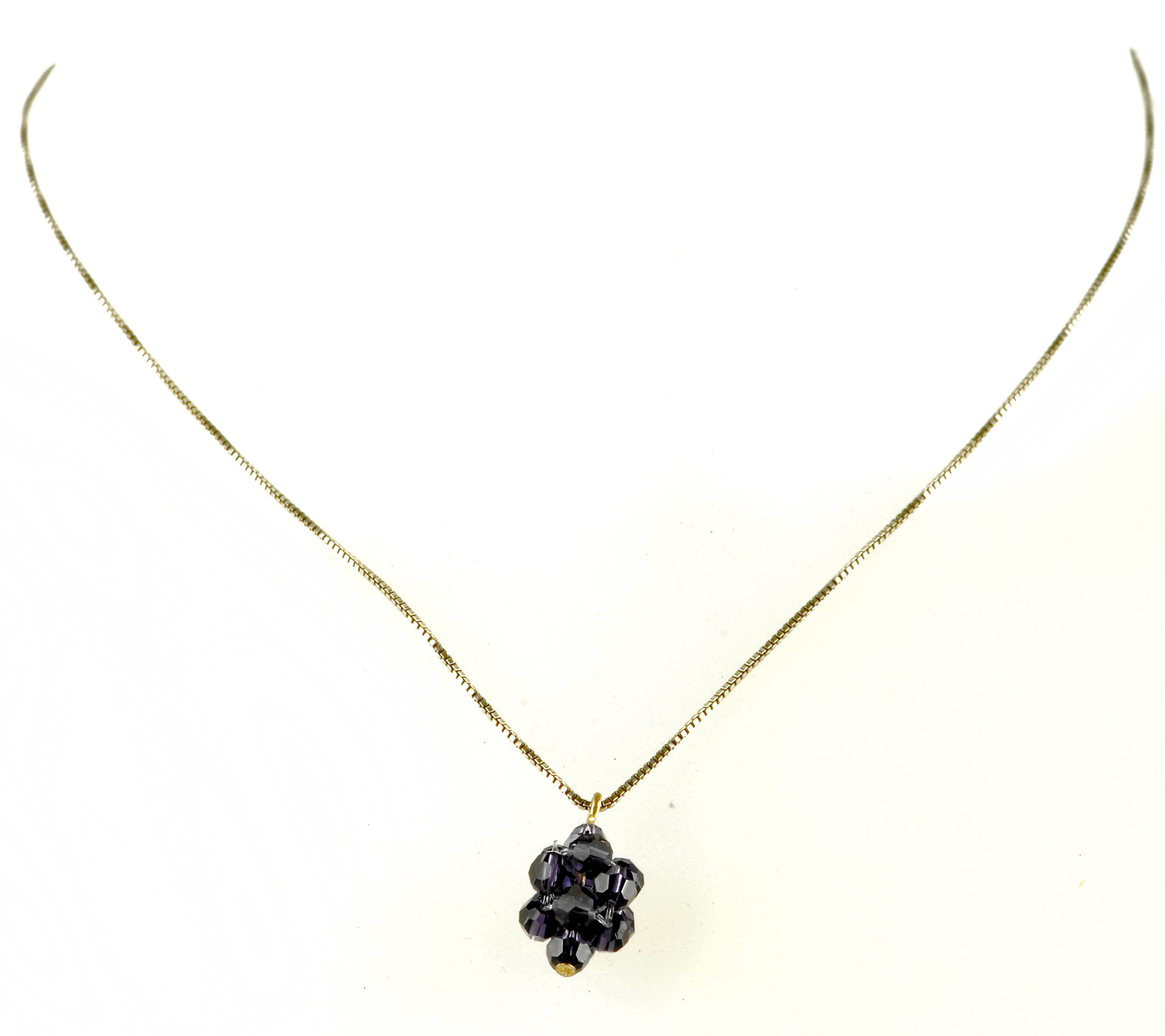 Waooh - Fashion Jewellery - WJ0292 - Necklace with Swarovski Strass Dark Purple - Color Silver Chain