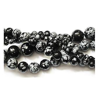 Strand 60+ Black/White Snowflake Obsidian 6mm Plain Round Beads GS1656-2