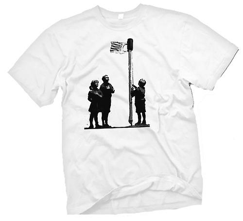 Mens T-shirt-Graffiti Banksy Art