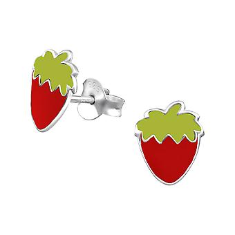 Strawberry - 925 Sterling Silver Colourful Ear Studs - W8553X