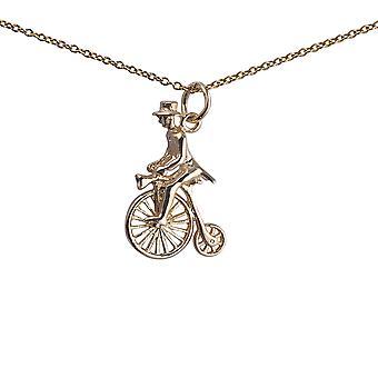 9kt guld 22x15mm Penny skilling med rytter i top hat vedhæng med en 1,1 mm bred kabel kæde-16 inches kun egnet for børn