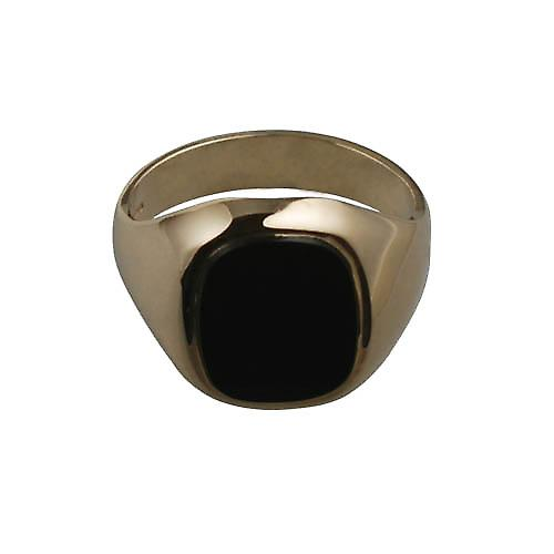 9ct Gold 15x13mm onyx cushion gents Signet Ring Size T