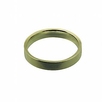18ct Gold 4mm plain flat Court shaped Wedding Ring Size Q