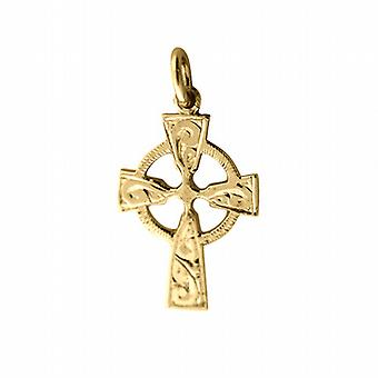 9ct Gold 23x16mm hand engraved Celtic Cross