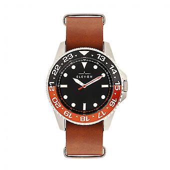 Elevon Dumont Leather-Band Watch - Silver/Brown