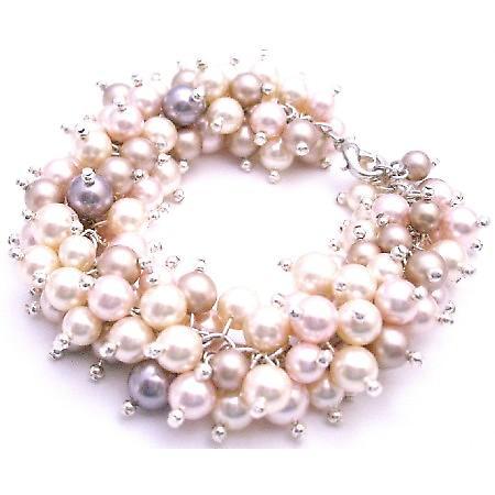 Linked Swarovski Cluster Mauve Ivory Champagne Rosaline Pearl Bracelet