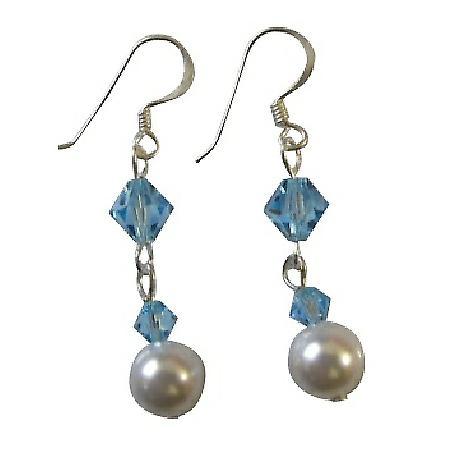 Affordable Bridesmaid Earrings Ivory Aquamarine Crystals