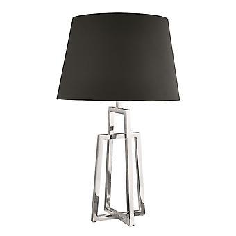 Chrome Frame enda bordslampa med svart tyg skugga - strålkastare 1533CC-1