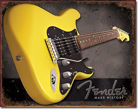 Fender Make History (yellow guitar) metal wall sign (de)