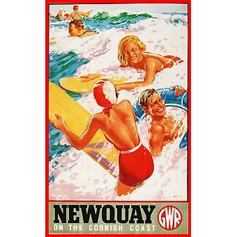 Newquay, Cornwall (old rail ad.) metal sign  (og 2015)