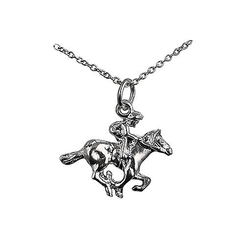 Silver 17x21mm galloping Horse and Jockey Pendant with a rolo Chain 16 inches Only Suitable for Children