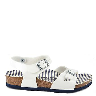 Birkenstock Rio White Nautical Stripes Sandal