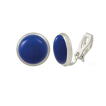 Eternal Collection Symphony Lapis Blue Howlite Silver Stud Clip On Earrings