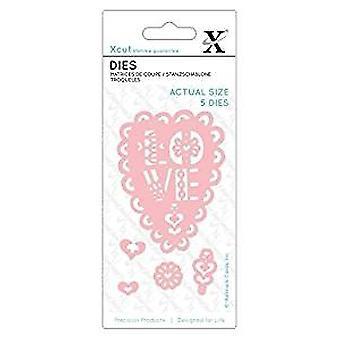 Xcut Small Dies Folk Love Heart (5pcs) (XCU 503117)