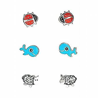 TOC Sterling Silver Ladybird  Whale & Sheep Stud Earrings - 3 Pairs