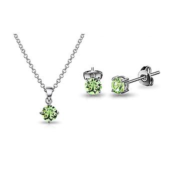 Green solitaire set created with swarovski® crystals