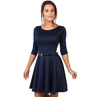 KRISP  Women Belted 3/4 Sleeve Top Pleated Tailored Swing Skater Mini Dress Party