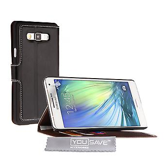 YouSave Samsung Galaxy A7 Leather-Effect Stand Wallet Case - Black
