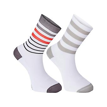 Madison White-Flame Red 2018 Sportive Long Pack of 2 Cycling Socks