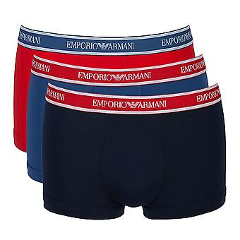 Emporio Armani Fashion Multipack Cotton Stretch 3-Pack Trunk, Cobalt / Red / Marine, X Large